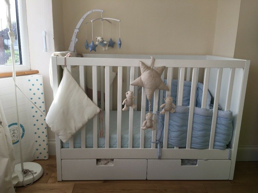 Cot bed with never used mattress changer and other accessories