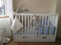 Cot bed plus Mattress,changer - in Excellent condition