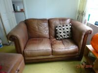 2 seater settee. Chocolate Brown. Free.