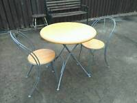 Ikea round fold away kitchen table + 2 chairs