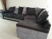 Large SCS black and grey corner sofa