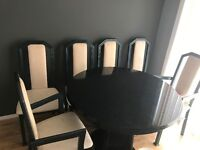 Dining table with 6 chairs and matching cabinet