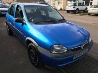 Vauxhall Corsa Club 16V 1199cc Petrol Automatic 5 door hatchbackW Reg 17/08/2000 Blue