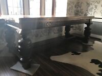 Carved oak Dining room table and chairs .Hand made one off by local craftsman