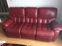 Red leather Sofa's