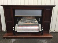 Electric 2 bar coal effect fire and wooden surround