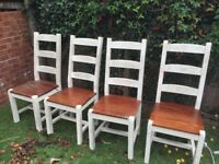 4 farmhouse solid wood dining chairs