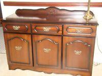 3 items Mahogany side board,Mahogany stereo cabinet & Mahogany TV/DVD corner unit