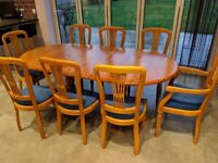 Solid Pine Extendable Dining Table + 8 Chairs