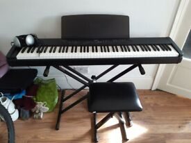 Yamaha P90 Digital Piano, high quality real piano keys, with seat and stand, headphones included