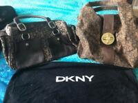 2x genuine DKNY handbags with one dust bag for storage