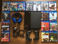 Playstation 4 + 7.1 Headset + 16 games + 2 controllers + HDMI
