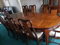 8 seater dinning table, solid wood. (Collection only)