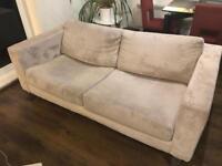 2 seats beige velvet sofa