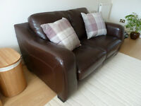 Brown 2-Seater Real Leather Sofa - Furniture Village