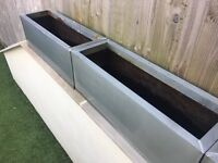 Selection of 9x Zinc Galvanised Metal Planters - Various Sizes - Weathered