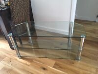 Modern Glass TV stand with 2 shelves