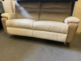 SCS DESIGNER FABRIC SOFA RECLINER IN EXCELLENT CONDITION EX DISPLAY WITH LABEL FREE DELIVERY