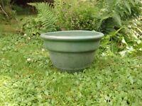 Elegant Green Glazed Ceramic Garden Planter Classic Plant Pot Shape 17cm Tall