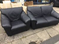 Black leather 2 seater sofa and armchair