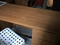 Solid Wood Desk with 3 Draws - Very Good Condition - Includes Chair
