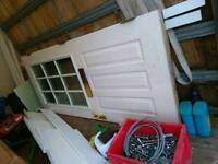 Solid wood front door, lock , keys, letter box, and hindges.
