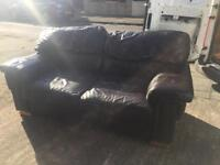 Dark brown leather setee 2x2 sofas puffy