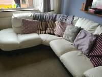 White and black corner sofa