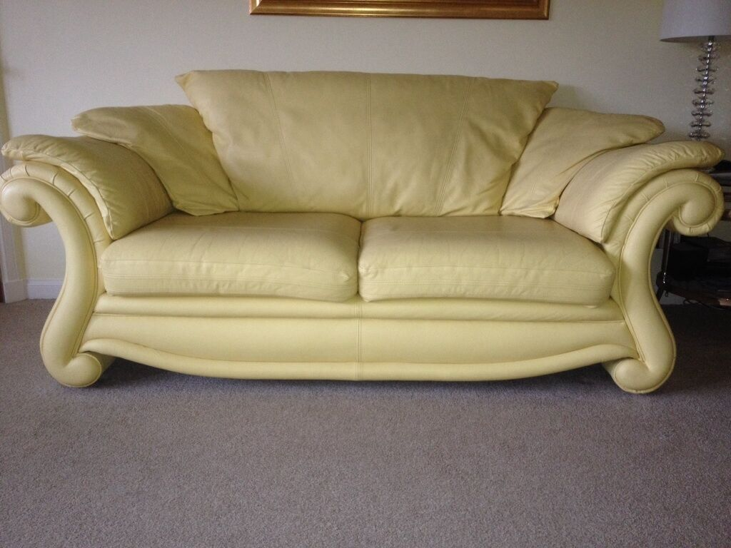 Yellow Leather 3 And 2 X 1 Seater Sofa In Balloch West Dunbartonshire Gumtree