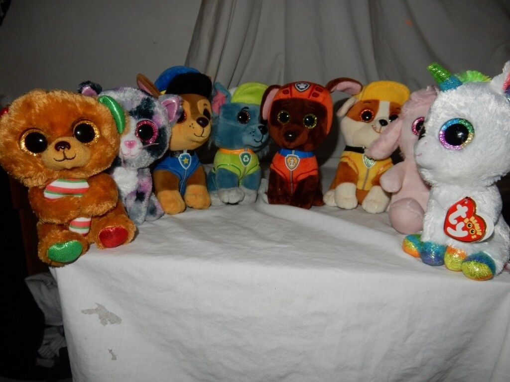 TY BEANIE BOOS PAW PATROL PLUSH SOFT TOY ROCKY RUBBLE CHASE ZUMA Unicorn  white 8a4abb3cc123