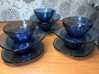 Fab 1960's Vintage Midnight Blue Coffee Cups & Saucers.