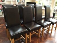 Brown Leather Dining Chairs £25 Each