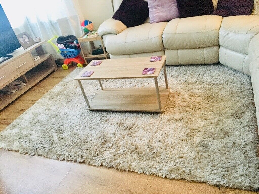 Very Large Gorgeous Multi Tonal Cream Fluffy Rug In Pentre