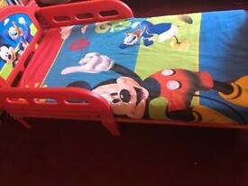 Mickey Mouse toddler bed with mattress