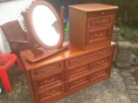 Bedroom Furniture For Sale - Large Chest of Drawers, A Bed Side Cabinet and Freestanding Mirror