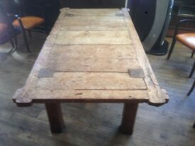 Antique Circa - Rustic Completely Wooden pegged oak table.