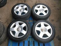 Audi A4 B6 A3 5x112 16'' GENUINE ALLOY WHEELS WITH GOOD TYRES 205/55/16