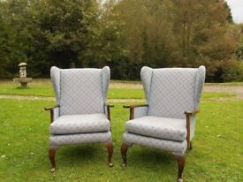 2 Wing Back Chairs With Queen Anne Legs