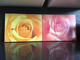2 wood flower print paintings/ wall art