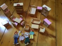 Wooden Doll's House Furniture and Doll's Family John Lewis