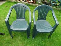 2 x plastic garden garden chairs