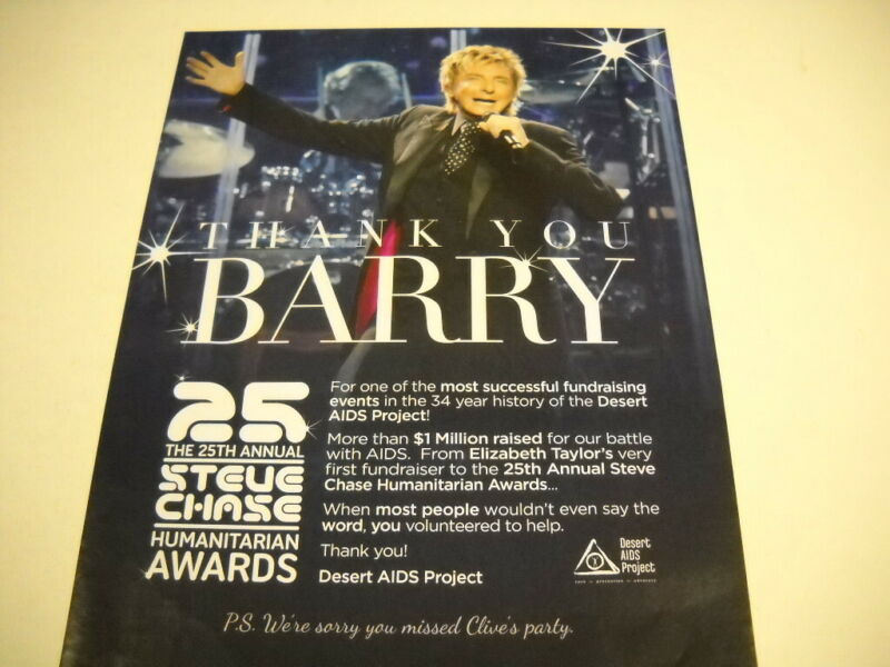 BARRY MANILOW successful fundraising DESERT AIDS PROJECT 2019 Promo Poster Ad