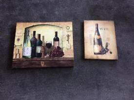 2 x kitchen canvas with wine images
