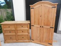 mexican pine wardrobe & chest of drawers