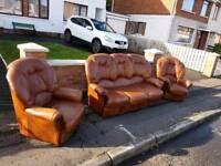 3+1+1 light brown leather sofa