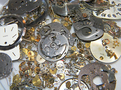 Lots of Watch Parts Gears Movements Vintage NOS Steampunk Altered Art 29 grams