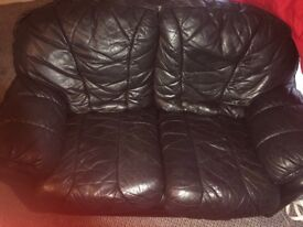 Black real leather 2&3 seater sofa with foot stool!!