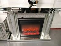 Lincoln Crushed Diamond Fireplace Complete With Heater BRAND NEW