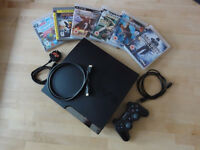 Playstation 3 console with 6 games, one controller, etc