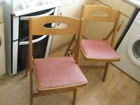 Two vintage / rtro fold flat kithcen chairs